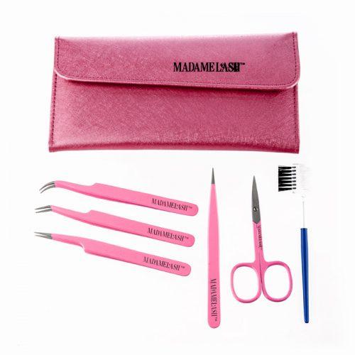 6 piece professional tweezer set in pink